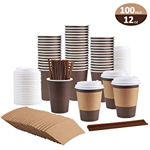 100 Pack 12 Oz Coffee Cups, Paper Coffee Cups With Lids Straws and Sleeves, Disposable Coffee Cups 12 Oz Coffee Cups Disposable Coffee Cups With Lids Paper Coffee Cups With Lids 12 Oz Paper Coffee Cup