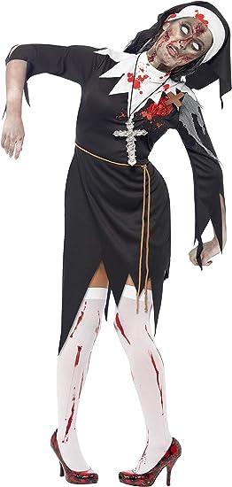 Smiffys Disfraz de Monja Zombi con Sangre, Negro, con Vestido ...