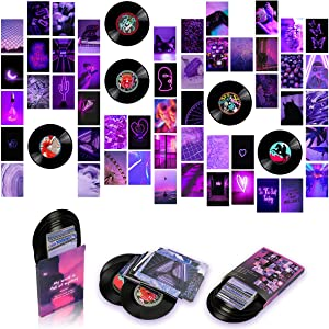 50 Pieces Room Decor for Bedroom,Purple Aesthetic Photo Collage Kit Wall Art Pictures Collage Kit for Teen Girls and Women,4x6i nch Photo Collection with 5Pcs 7 inch Blank Vinyl Records