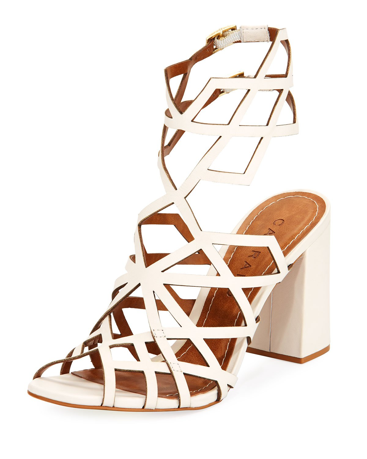 Carrano Women's  Leather Cage Style Chunky Heel, Champagne, 9 US by Carrano