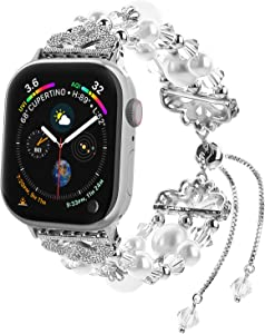 Fohuas Compatible for Apple Watch Bracelet 38mm 40mm, Adjustable Crystal Pearl iWatch Band Women girl Jewelry Elastic bead Replacement Wristband for iWatch Series SE 6 5 4 3 2 1, Nike+, White