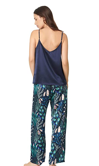 LilySilk Silk Pajamas for Women 2pc Floral Long Silk Camisole Set 100 Mulberry  Silk Sleepwear at Amazon Women s Clothing store  3a17f7e54