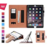 iPad Pro Case, iPad Pro 12.9 Case, Fyy [Super Functional Series] Premium PU Leather Case Stand Cover with Card Slots, Note Holder, Quality Hand Strap and Elastic Strap for Apple iPad Pro 12.9 inch (2015) Black (With Auto Wake/Sleep Feature)