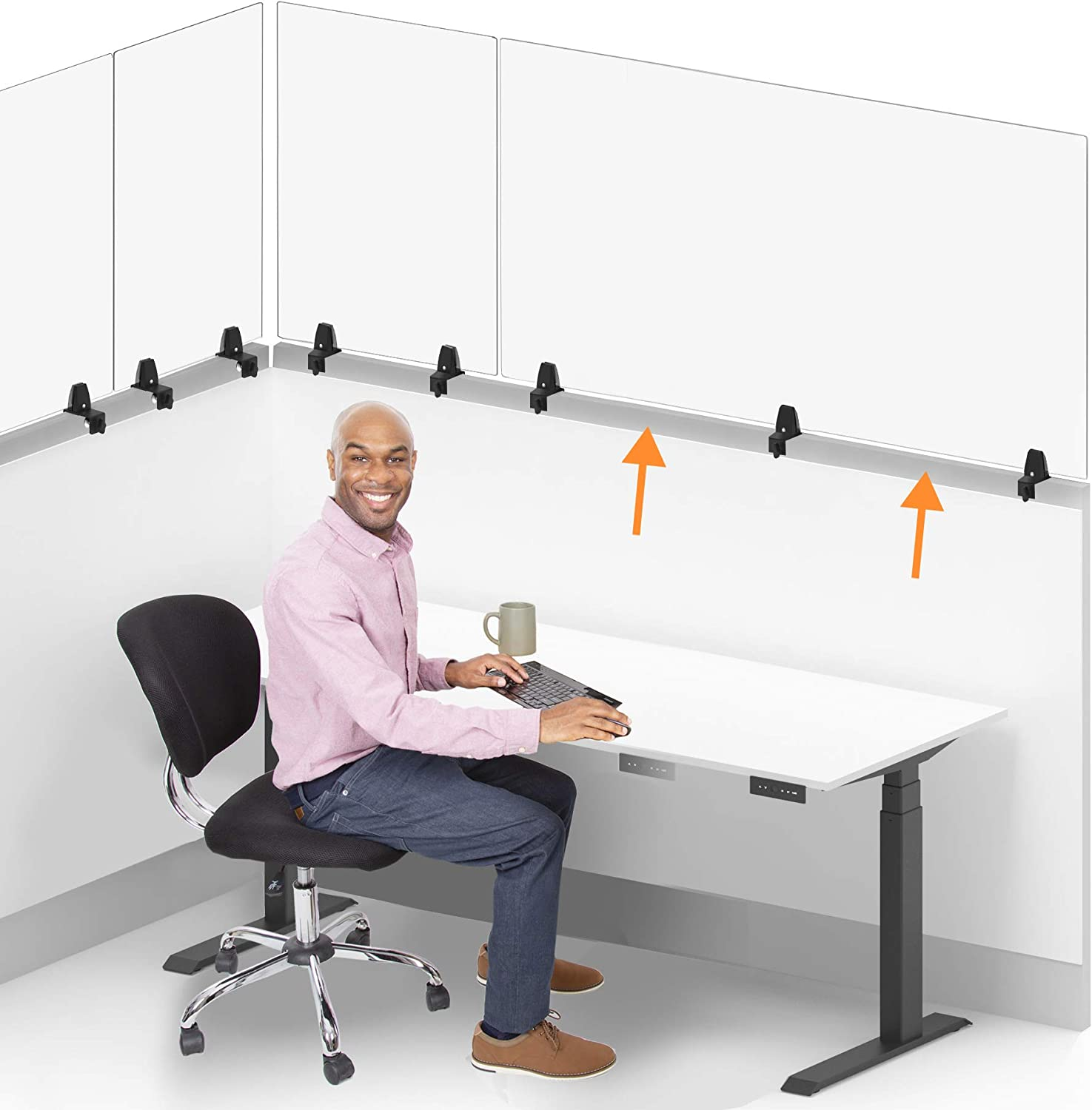 Stand Steady Clear Cubicle Wall Extender   Single 60 in x 30 in Panel   Clamp On Acrylic Shield & Sneeze Guard   Portable Desk Divider for Desk Walls & Cubicles   for Offices, Libraries & More