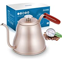 SULIVES 1.2L/40oz Stainless Steel Coffee Kettle w/ Thermometer