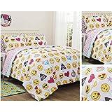 Emoji Girls Complete 7 Piece Reversible Bedding Comforter Set (White, Queen)