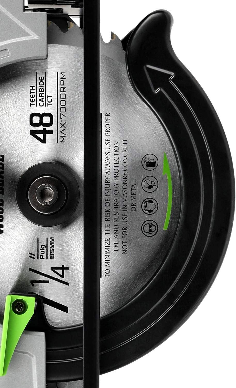 zum Scheiden von Kunststoff GALAX PRO 1500W 5500U Handkreiss/äge Max Schnitttiefe: 90/°: 65mm // 45/°: 43mm Kreiss/äge mit Laser 24T // 48T Sperrholz und Weichmetall/ 2 Klingen