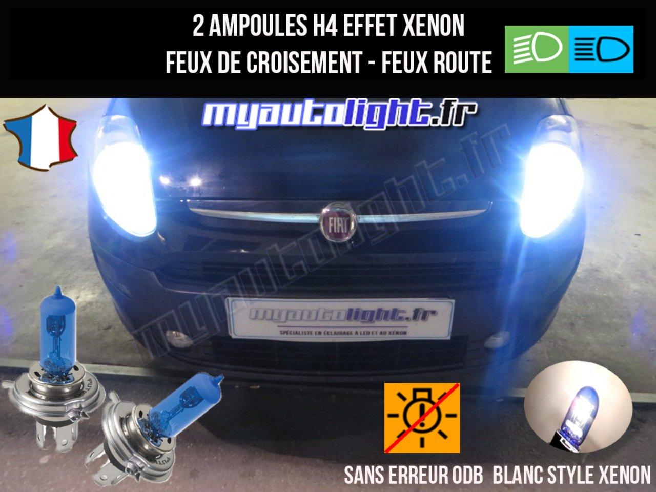 Pack ampoules H4 blanc xenon feux croisement-code pour Fiat Grande Punto MyAutoLight