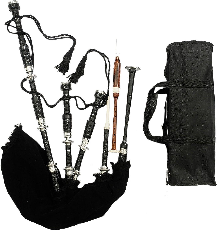 AJW Gaita de Las Tierras Altas de Escocia de palisandro negro y plata, lista para tocar / Gaitas Irlandesas: Amazon.es: Instrumentos musicales