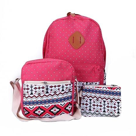 Jocestyle 3Pcs   Set Muiti-Color Fashion Retro Teen Girls Canvas Backpack  Ethnic Student School Bag + Single Shoulder Bag   Cross Body Bag + Clutch  Bag ... ce5869cf8835e
