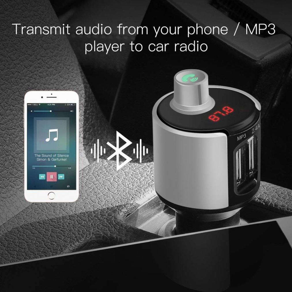 TAOtTAO transmetteur FM sans Fil Bluetooth Car Kit Mains Libres Radio Adaptateur Chargeur USB