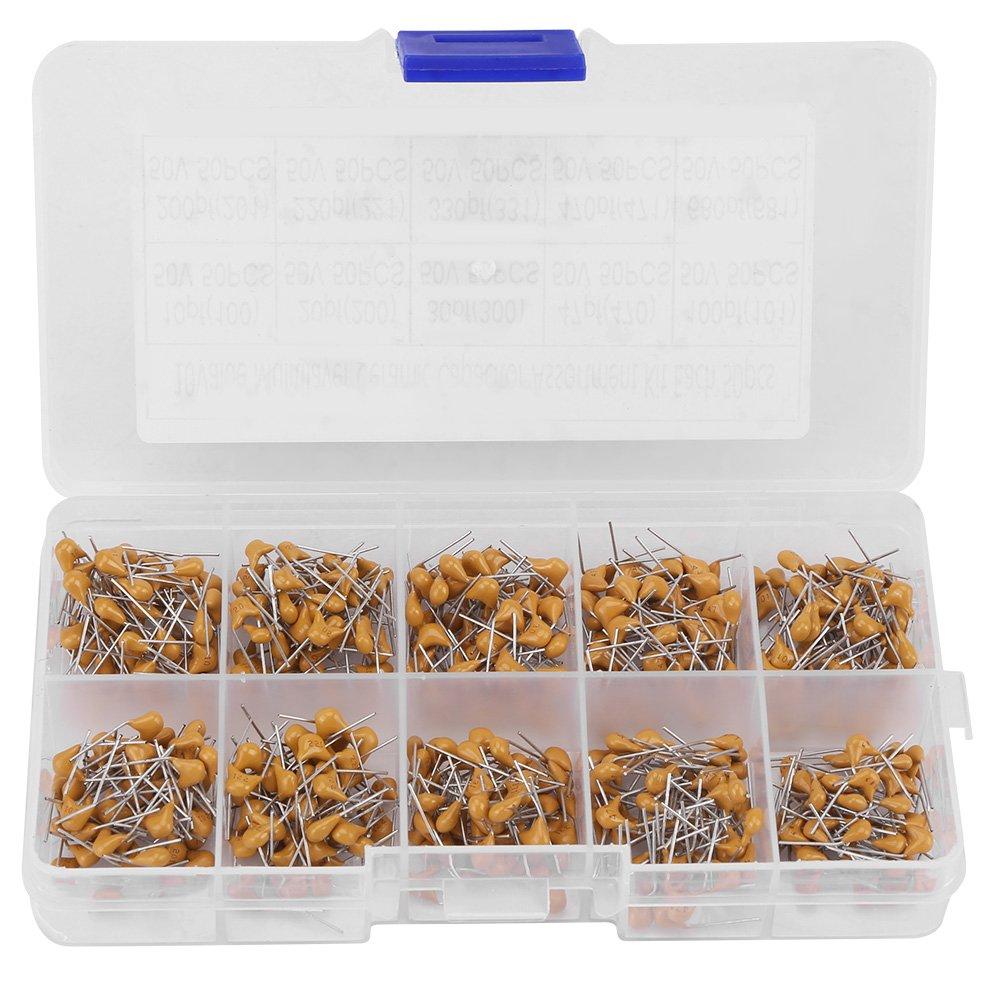 500pcs Ceramic Capacitors 10 Values 50V 10PF-680PF Monolithic Ceramic Capacitor Assorted Kit Hilitand