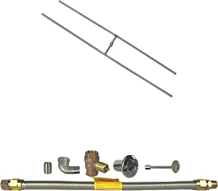 Hearth Products Controls 84x10-Inch HBSB84-NG Natural Gas HPC Rectangle Stainless Steel Fire Pit H-Burner