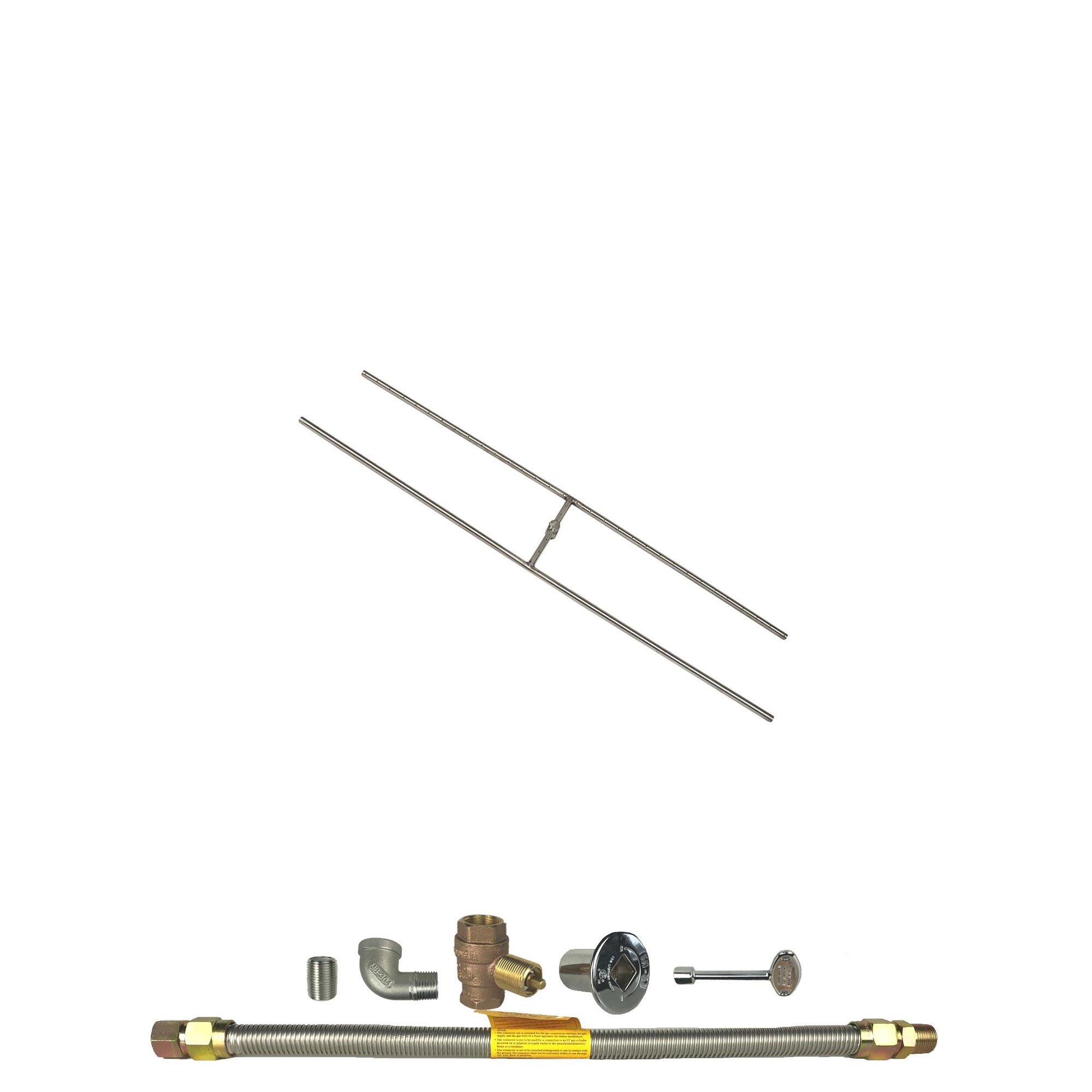 Spotix HPC Rectangle H-Burner Fire Pit Burner Kit (FPS-HBSB36KIT-NG-MSCB), 36x8-Inch Burner, Match Light, Natural Gas by Spotix