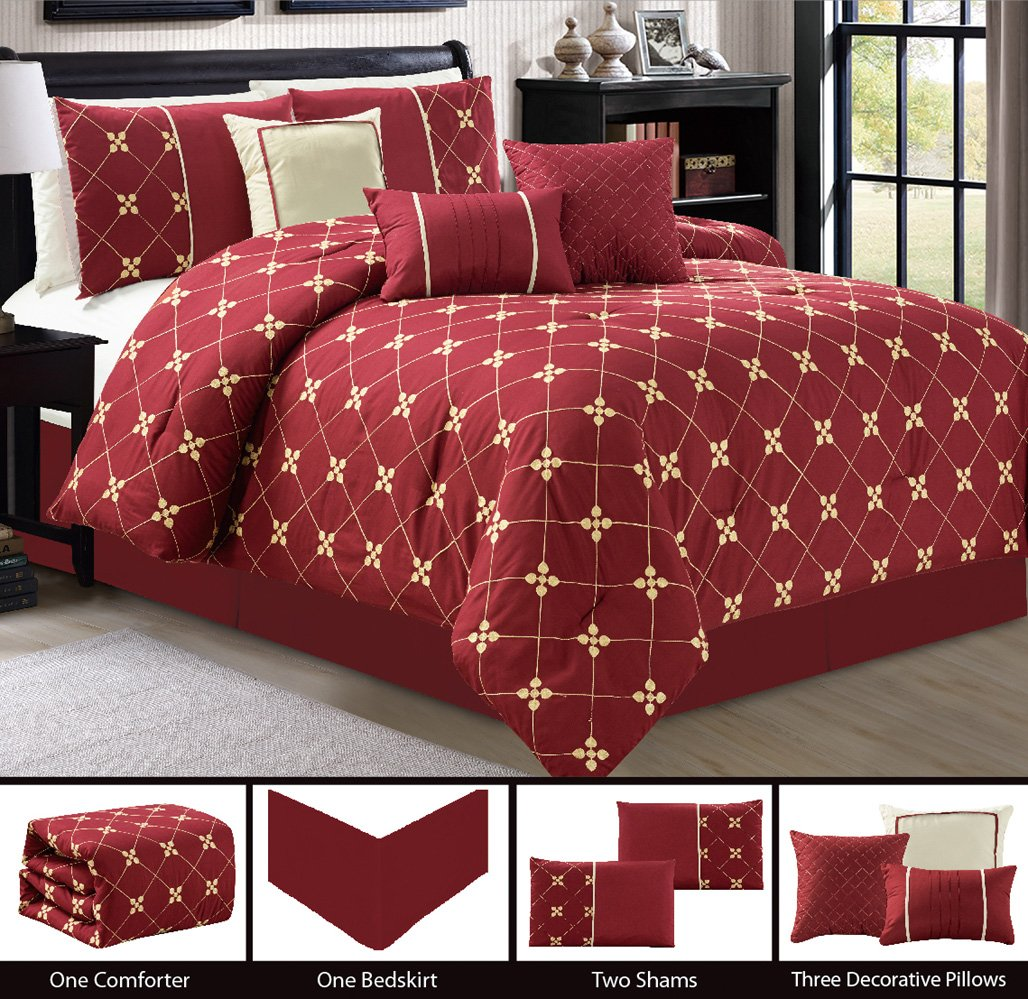 Modern 7 Piece Bedding Burgundy Red, Gold, Beige Floral Embroidered QUEEN Comforter Set