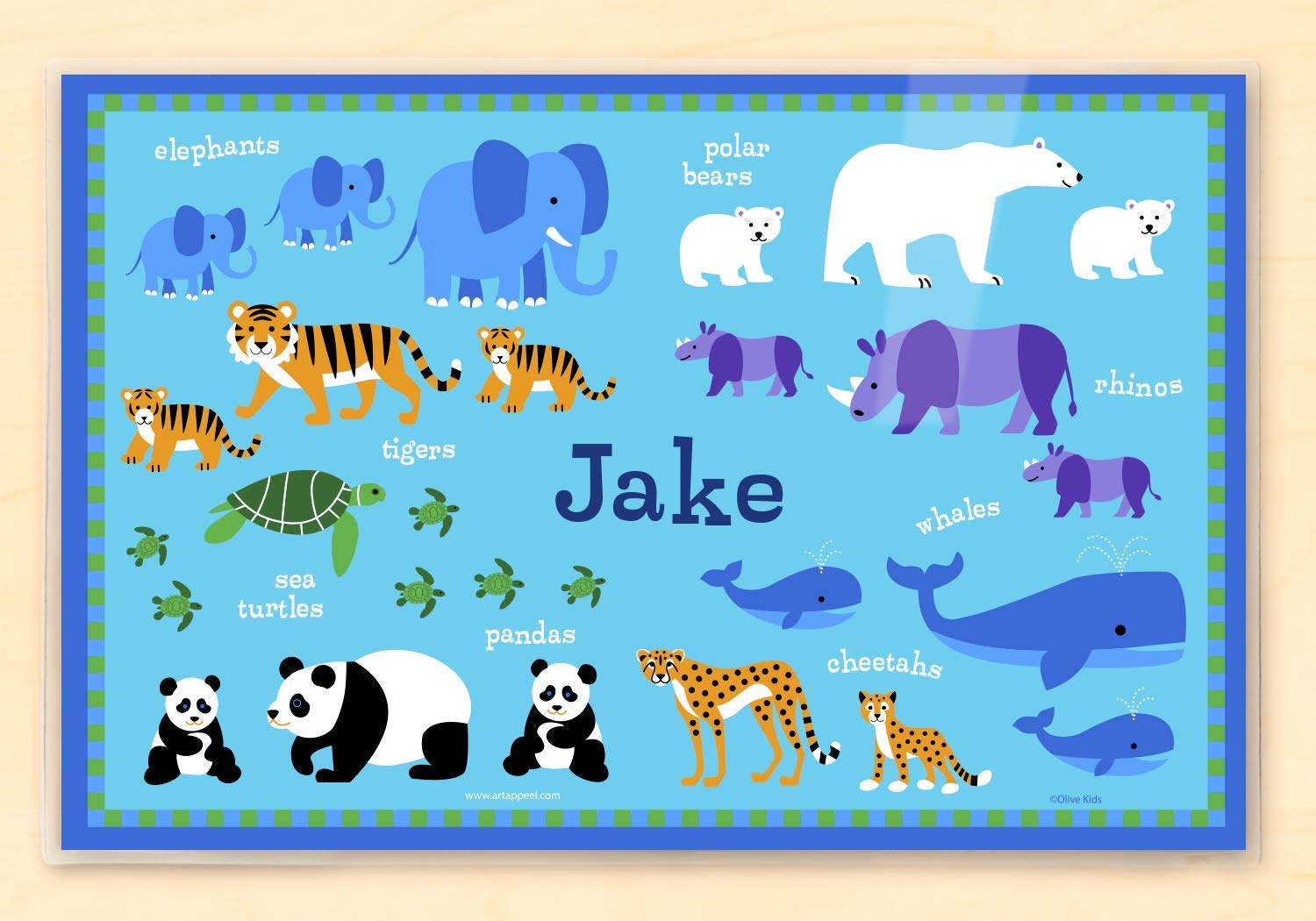 Olive Kids Personalized Endangered Animals Placemat by Olive Kids   B00VIFKJIY