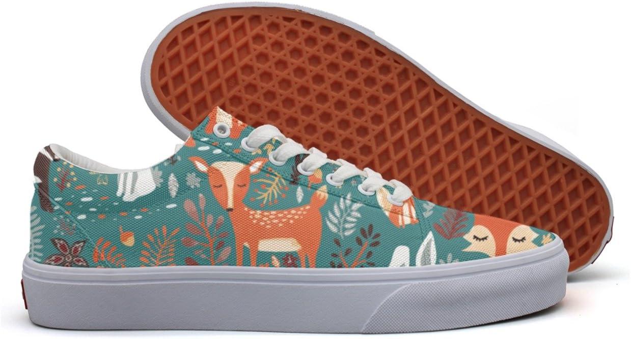 SERXO Forest Animals Fox Deer Rabbit Womens Casual Shoes Canvas Customize Fashion Original