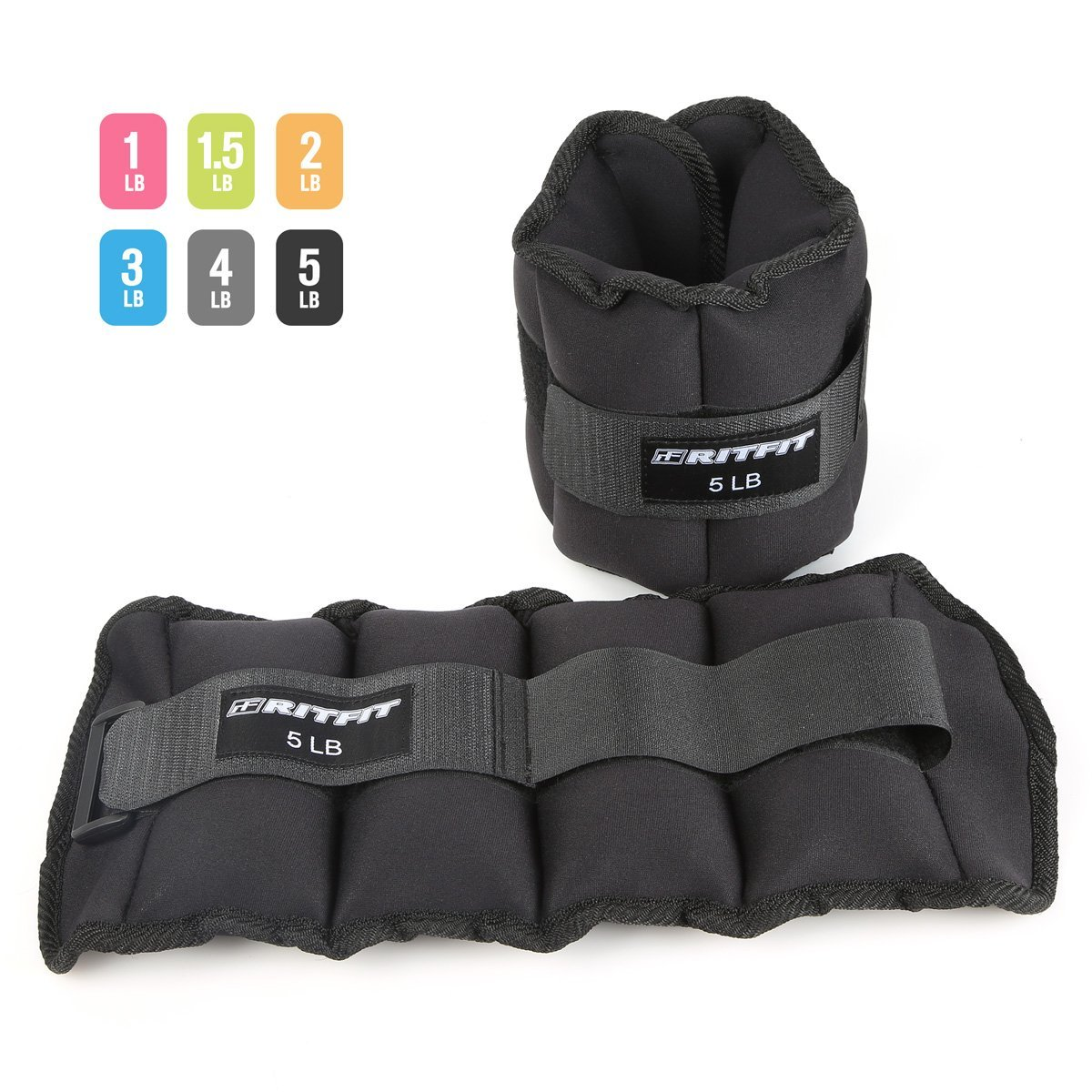 RitFit Ankle/Wrist Weights(1 Pair), Fully Adjustable Weight for Arm, Hand & Leg - Best for Exercise, Fitness, Walking, Jogging, Gymnastics, Aerobics,Gym and Swimming(1lb,1.5lbs,2lbs 3lbs,4lbs,5lbs)