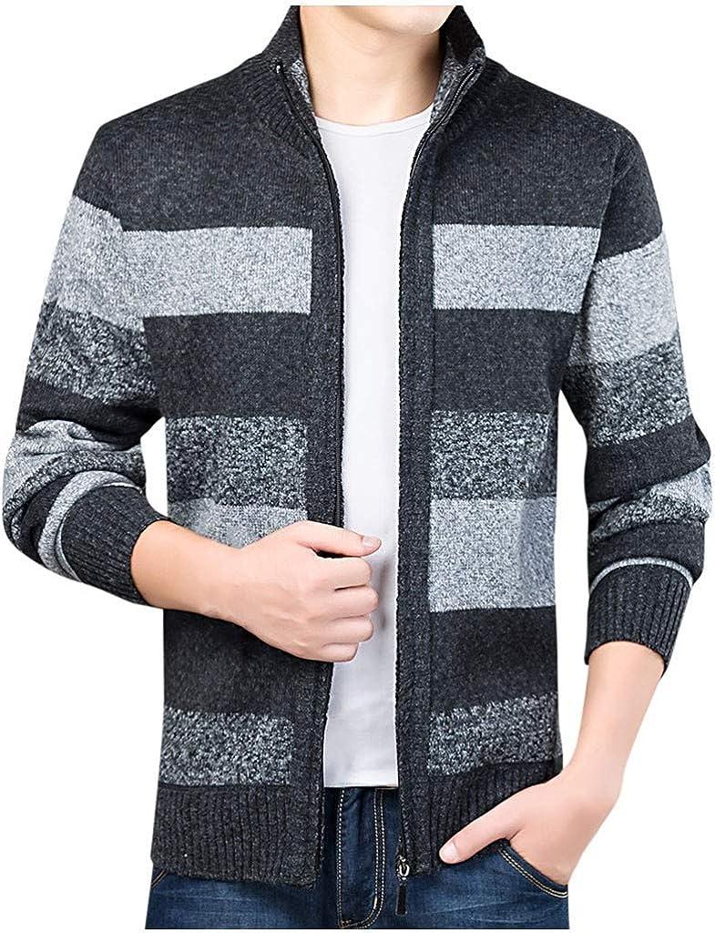 Mfasica Men Knitwear Stripe Zips Thickened Assorted Colors Kint Cardigan
