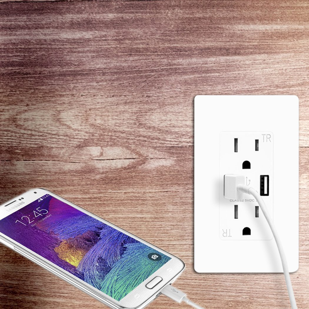 TOPELE Smart Fast Charger USB Outlet, Duplex Dual USB Wall Outlet with 15Amp 110V/120V Tamper-Resistant Electric Receptacle, Childproof USB Outlet Plug, UL Listed, White by TOPELE (Image #6)