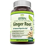 Herbal Secrets Ginger Root Supplement - 550 mg Capsules - Easy to Swallow Capsule - Helps to Relieve From Symptoms of Nausea and Upset Stomach * An All Natural Digestive Aid * 120 Capsules Per Bottle