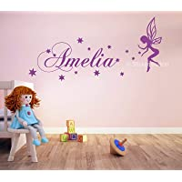 Fairy & Stars Girls Personalised Any Name Wall Art Mural Decal Sticker