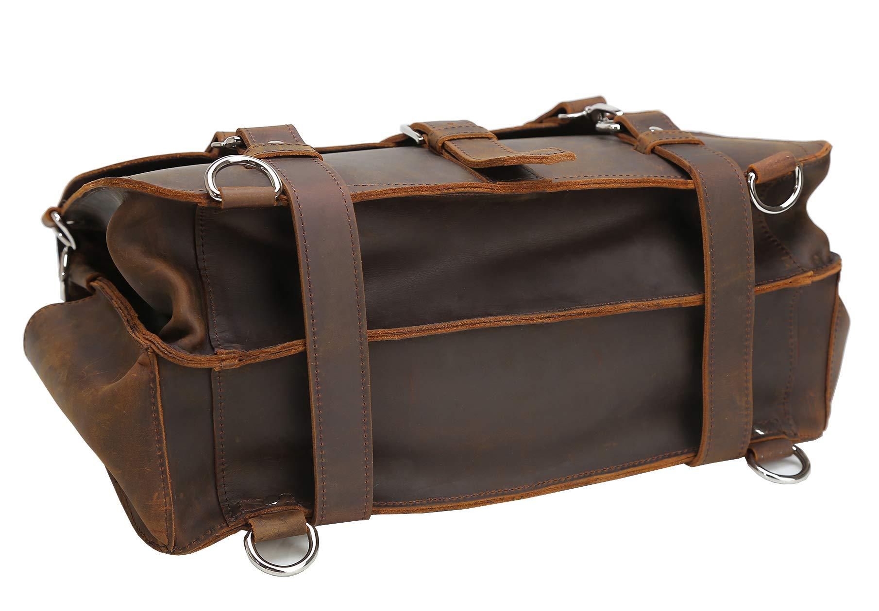Polare Men's Full Grain Leather 16'' Laptop Briefcase Shoulder Messenger Bag by Polare (Image #6)