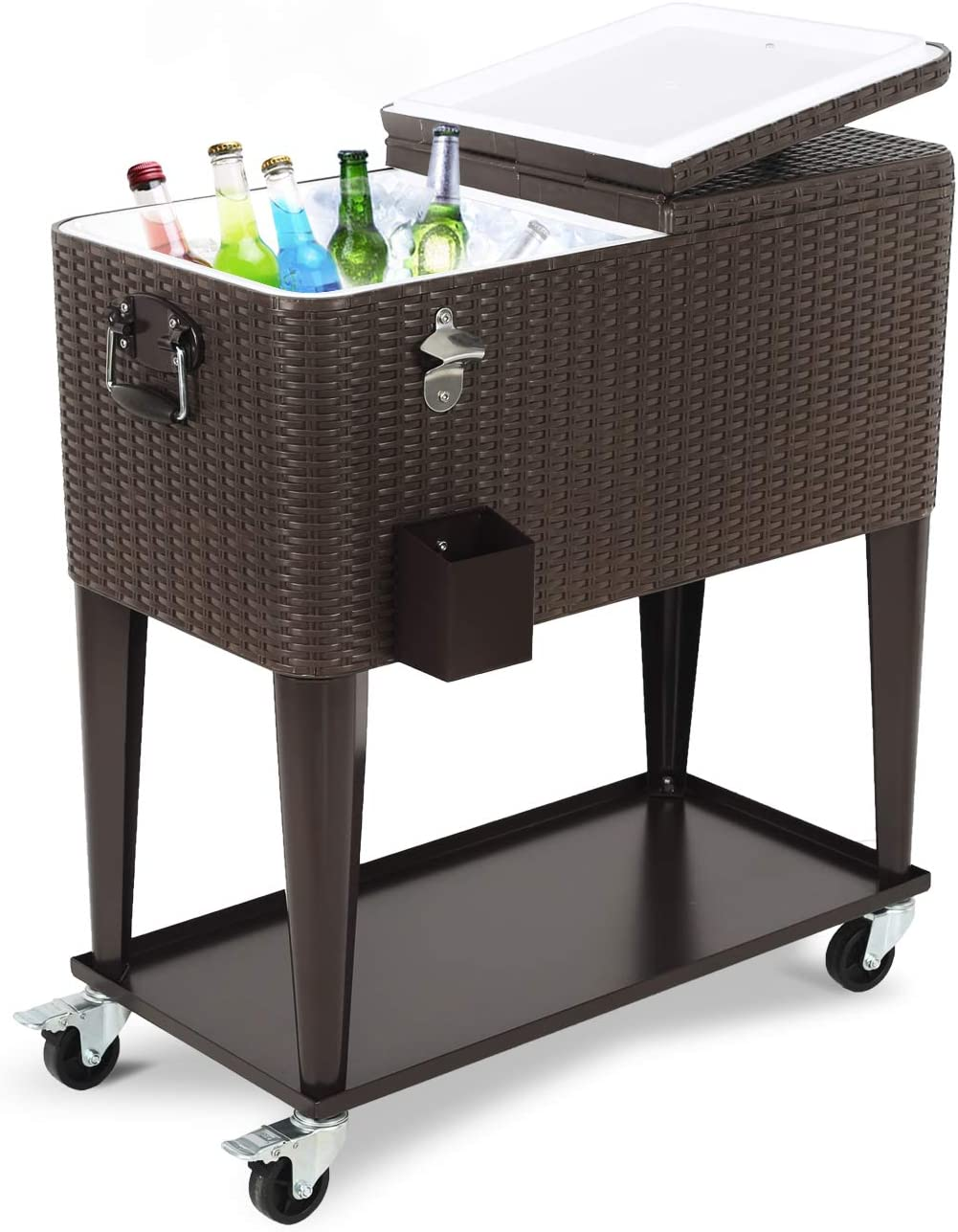 80 Quart Outdoor Patio Cooler Cart, Wicker Pattern Beverage Rolling Cooler on Wheels, Rolling Ice Chest with Shelf and Bottle Opener, Brown