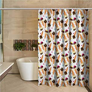 Fabric Shower Curtain Ice Cream Chocolate Covered Ice Cream with Colorful Little Dots Frozen Desert Waffle Cones Multicolor W72 xL78
