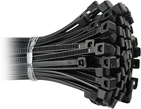 370mm long and 7.6mm wide in Black or White Large Heavy Duty Nylon Cable Ties