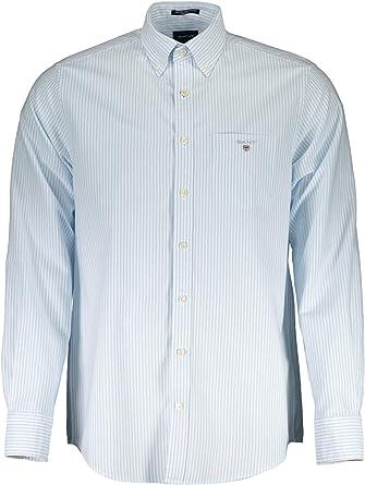 GANT Camisa Regular Fit Rayas Oxford Azul