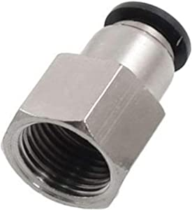 "Utah Pneumatic Push to Connect Air Fittings 3/8"" Od 1/4"" Npt Female Nylon & Nickel-Plated Brass Pneumatic Fittings Air Line Fittings Straight Union Fitting PTC Pneumatic Connectors (Pack of 10 Pcf)"