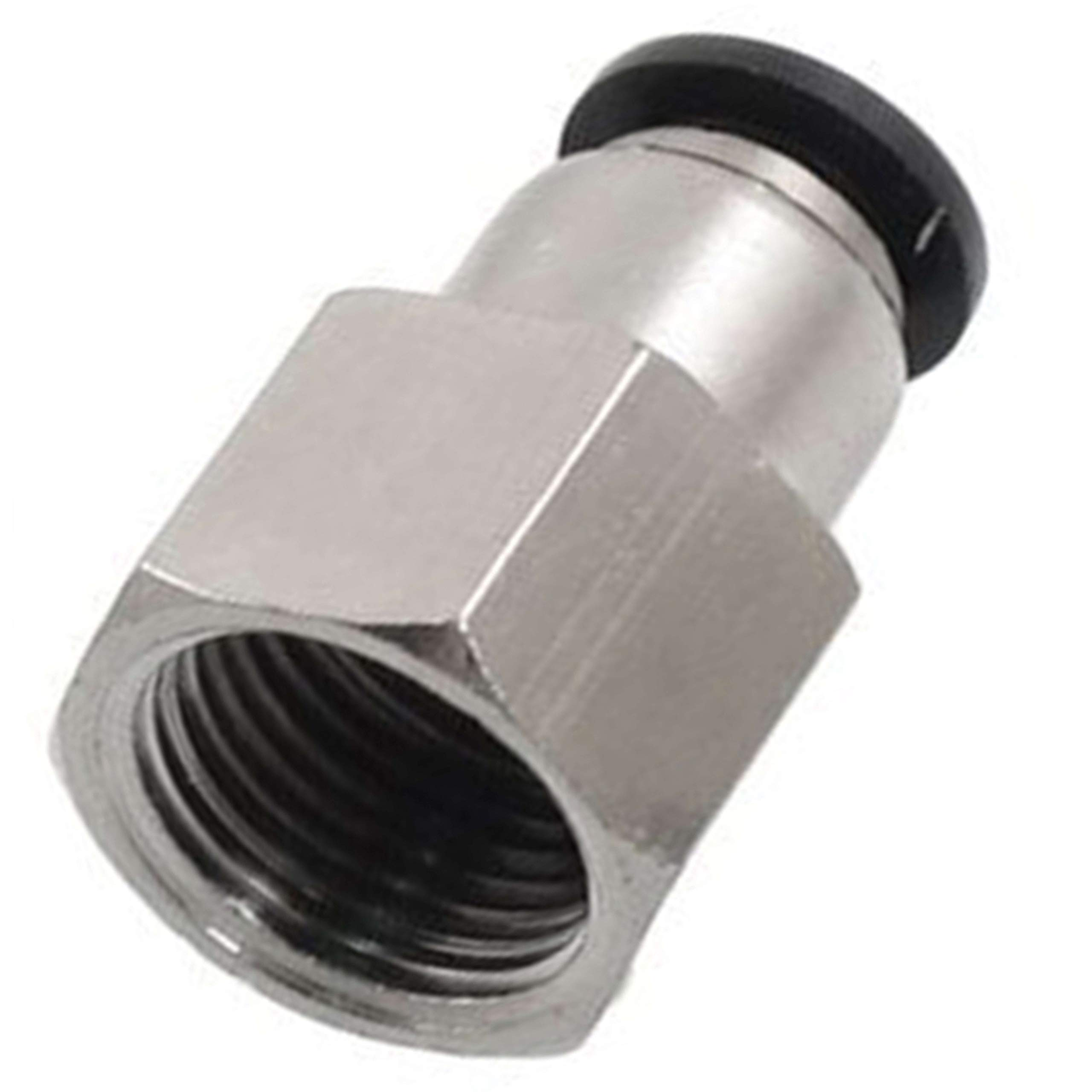 Utah Pneumatic Push to Connect Air Fittings 1/4'' Od 1/8'' Npt Female Nylon & Nickel-Plated Brass Pneumatic Fittings Air Line Fittings Straight Union Fitting PTC Pneumatic Connectors (Pack of 10 Pcf)