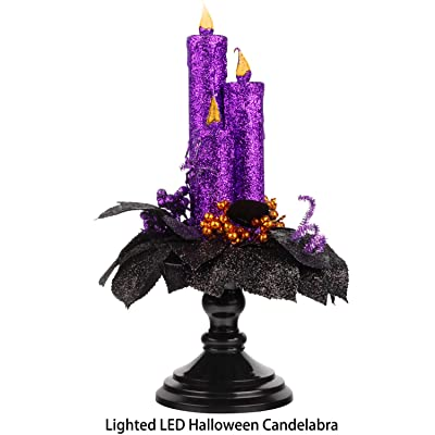 KI Store Halloween Candelabra with LED Flameless Candles Holder Glittered with Flickering Lights Battery Operated for Halloween Centerpiece Mental Window (Purple Glittered): Home & Kitchen