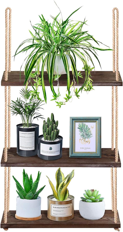Yazoo Hanging Plant Shelf - 3-Tier Boho Wall Window Shelf for Plants Indoor - Wood Book Shelves with Rope - Chic Floating Shelf for Modern Home Farmhouse Bathroom Rustic Bedroom Decor