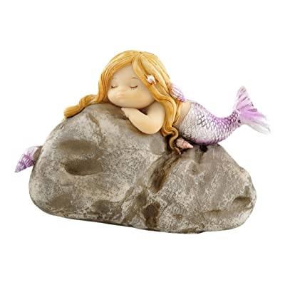 Top Collection Miniature Fairy Garden and Terrarium Little Mermaid on Rock Statue: Garden & Outdoor