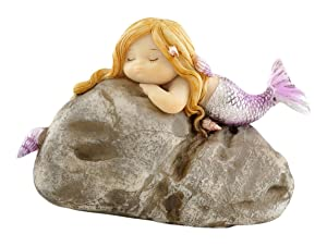 Top Collection Miniature Fairy Garden and Terrarium Little Mermaid on Rock Statue