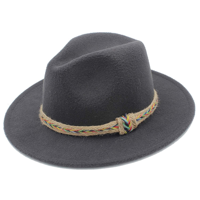 DOSOMI Wool Women Men Fedora Hat Gentleman Lady Gothic Wide Brim Jazz Church Hats Godfather Sombrero Cap