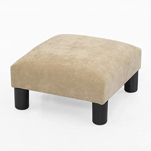 Joveco Ottoman Footrest Stool Small Fabric Square Footstool Wheat