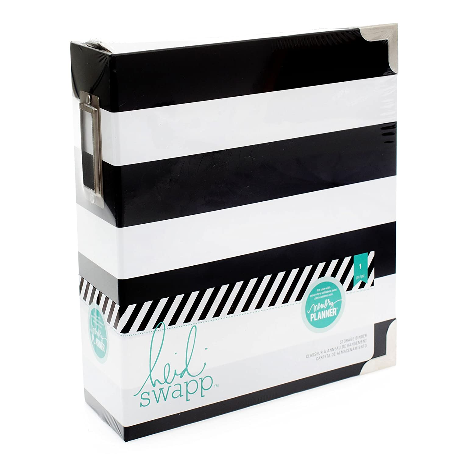 "Heidi Swapp Memory Planner Storage Binder 8""X8.75""X3""-Black & White Stripe American Crafts 312598"