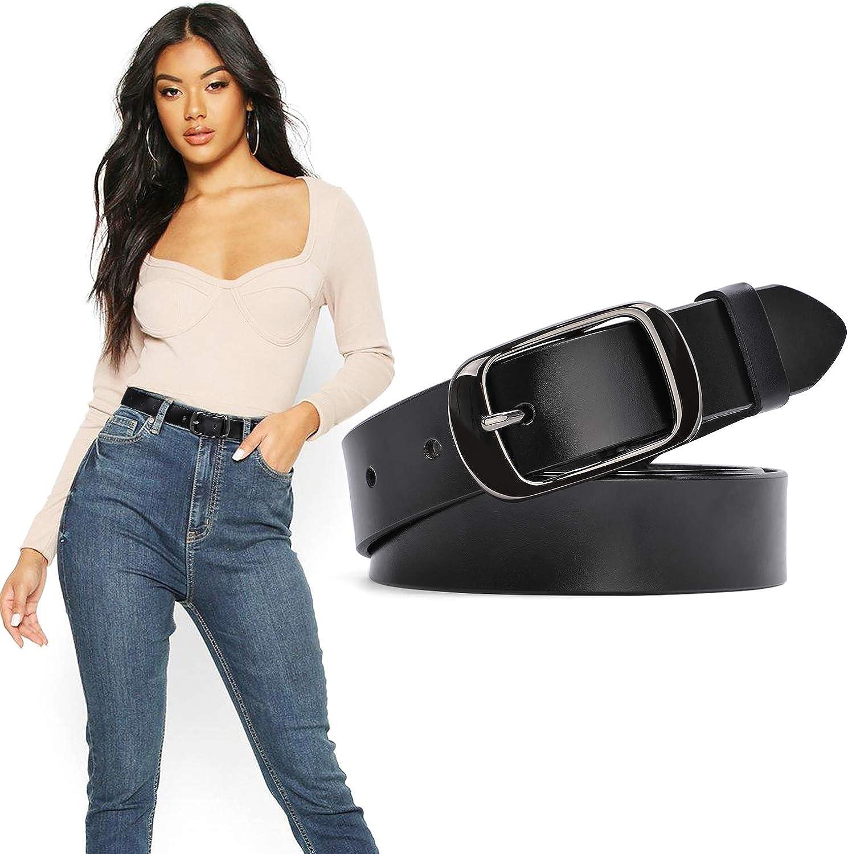 Women Leather Belt Ladies Black Waist Belt for Jeans Pants Dresses Small Size Elegant Gift Box