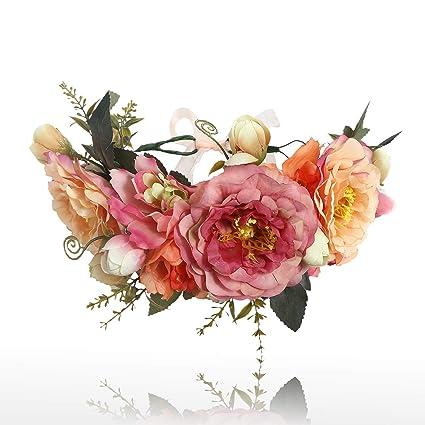 Amazon.com: AWAYTR Bohemia Flor Corona Floral Diadema Mujer ...