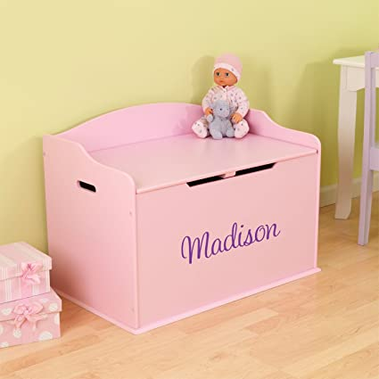 Amazon.com: Personalized Modern Touch Toy Box - Pink with Custom ...