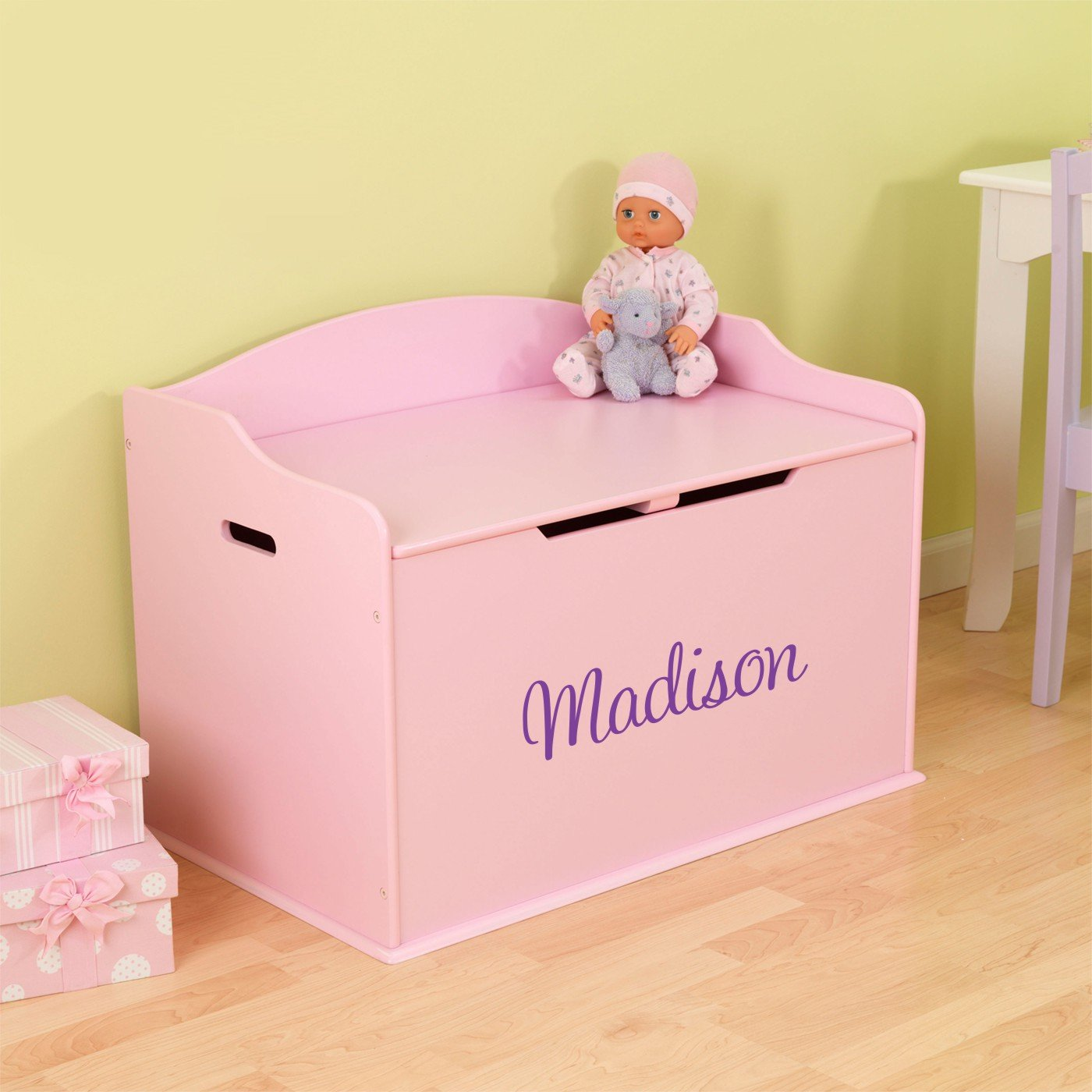 Personalized Modern Touch Toy Box - Pink with Custom Font Choices