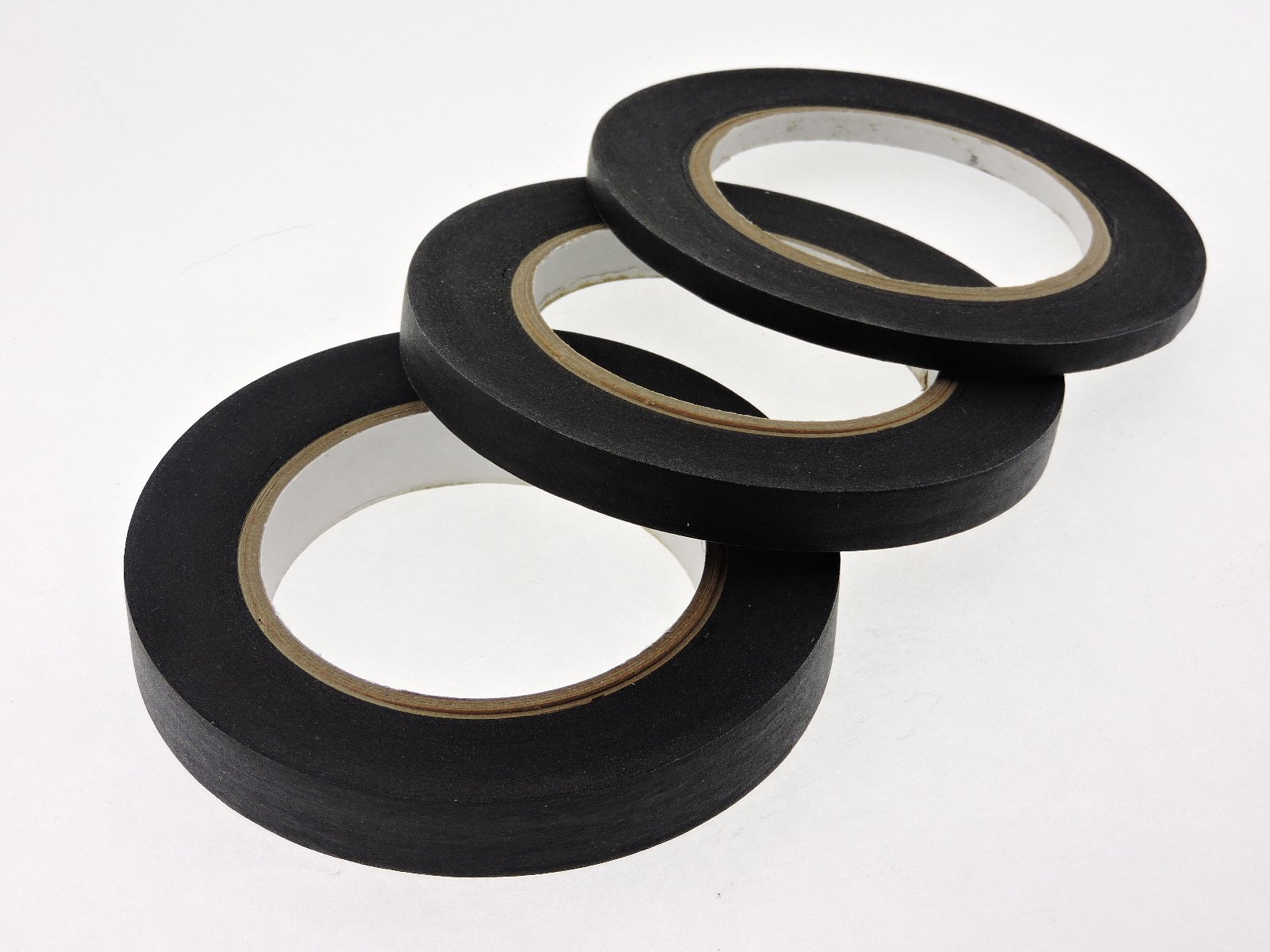 1/4'' 1/2'' 3/4'' x 60 yd Multi Size Pack Black Painters Tape PROFESSIONAL Grade Fine Masking Edge Pin Stripping Trim Multi Surface Easy Removal (.25 .5 .75 in)