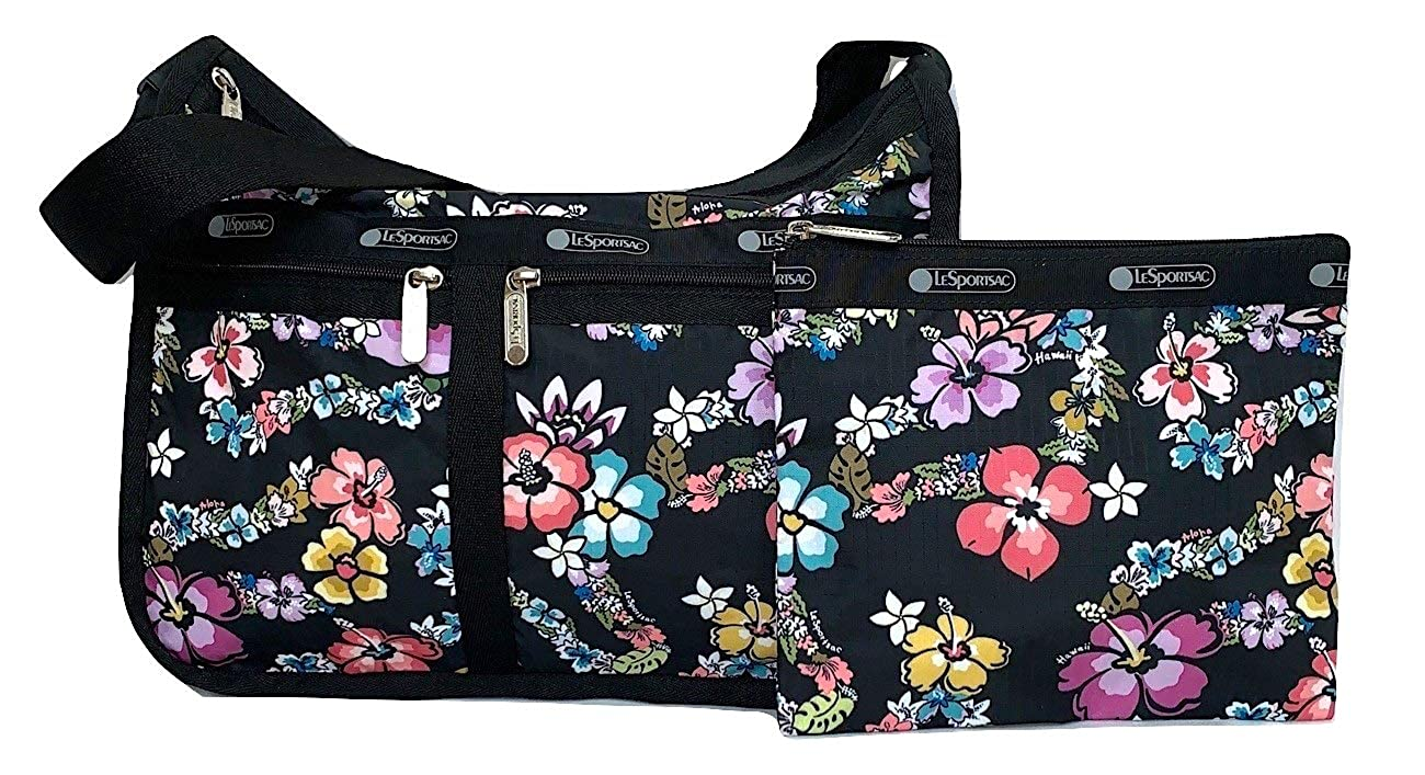 Image of LeSportsac Olina HAWAII EXCLUSIVE Deluxe Everyday Crossbody Bag + Cosmetic Bag, Style 7507/Color K530, Joyous and Colorful Tropical Lei Flowers - Aloha & Hawaii Printed on Pattern