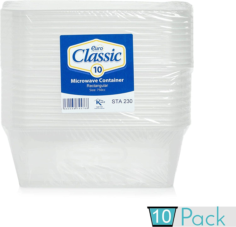 Paquete de 10 recipientes rectangulares de plástico para alimentos, con tapas, a prueba de fugas, sin BPA, aptos para microondas, frigorífico y congelador, reciclables, lavables, 750 ML