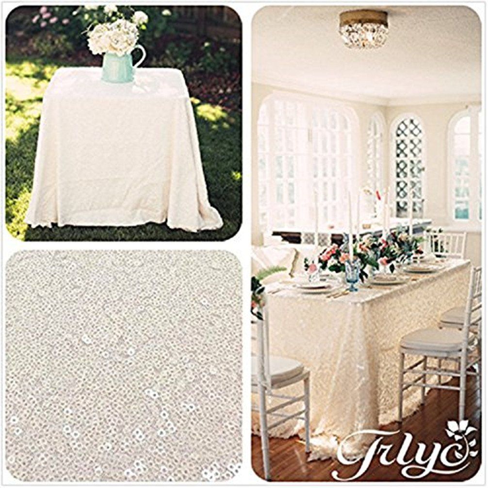 Inch Sequin Tablecloth for Wedding Party Banquet TRLYC Rainbow Pink 60 by 102