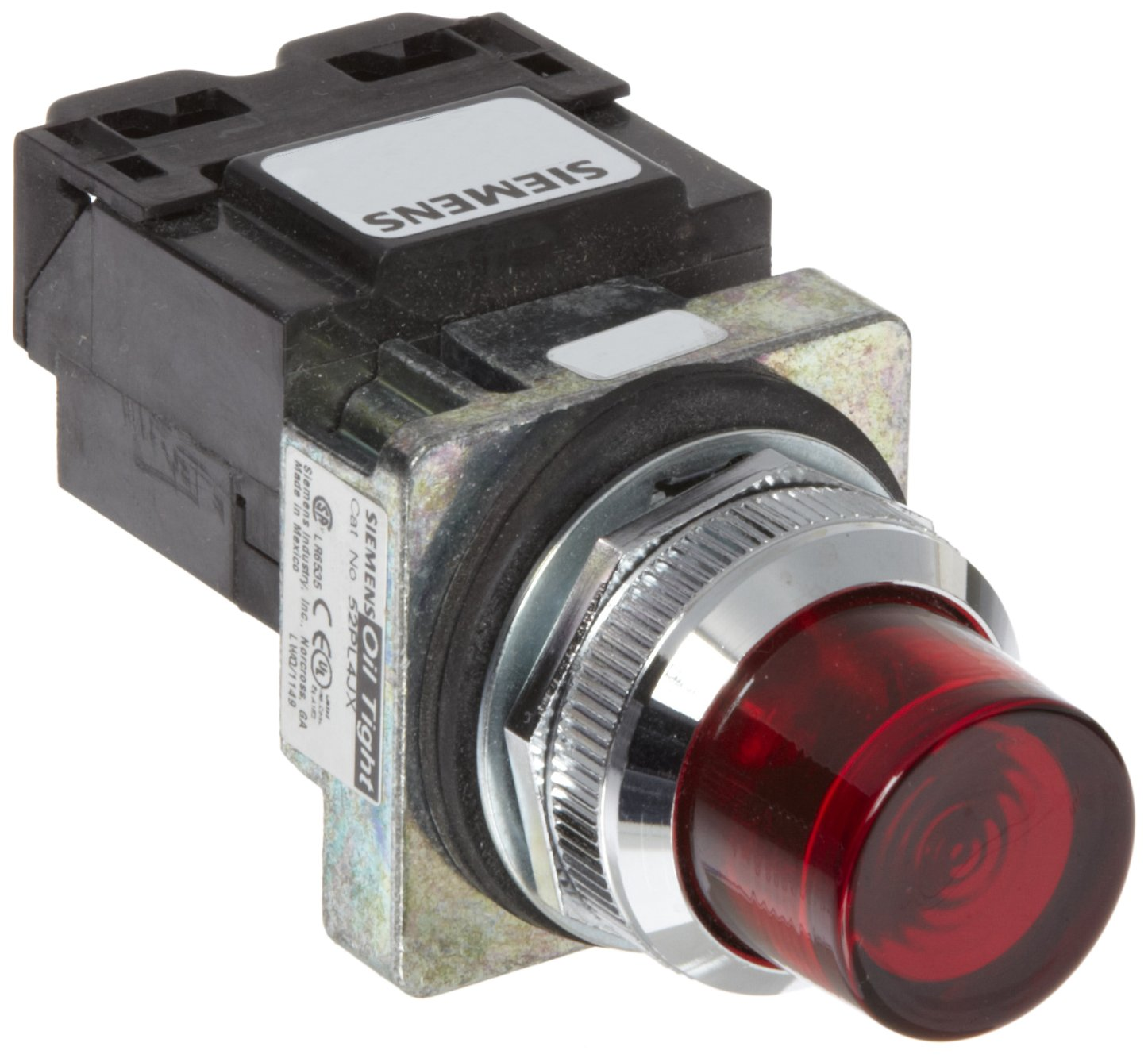Siemens 52PL5J2 Heavy Duty Pilot Light, Water and Oil Tight, Glass Lens, Transformer, 6V 755 Type Lamp or 6V LED, Red, 480VAC Voltage
