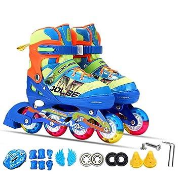 Sunkini Set Niños Niños Zapatillas de patinaje en línea Patinaje sobre ruedas Protector de rodillas Ruedas